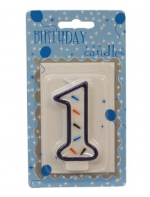 Birthday Candle Number 1 - Blue Outline