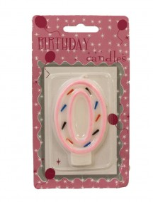 Birthday Candle Number 0 - Pink Outline