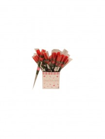 """Artificial Single Stem Rose 16"""" with Message Heart & Gift Tag"""