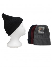 Men Ribbed Beanie Hat - Assorted Colors