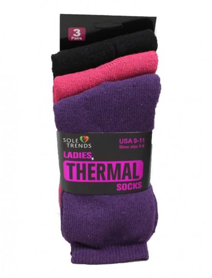 Ladies Thermal Socks 3 pk Size 9-11 - Assorted Colors