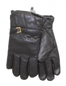 Men PU Leather Gloves with Grip - Black Color