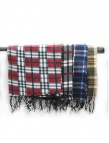 Fleece Checkered Scarf - Assorted Colors