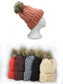 Women Winter Beanie with Puff Ball - Assorted Colors