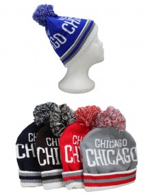 Chicago Beanie Hat With Puff Ball - Assorted Colors