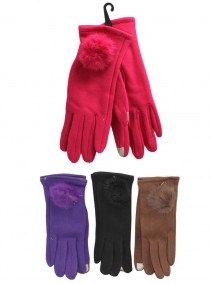 Women Gloves With Pom Pom  - Assorted Colors